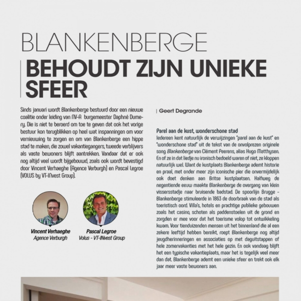 artikel over The One  in magazine LOGIC-IMMO.BE